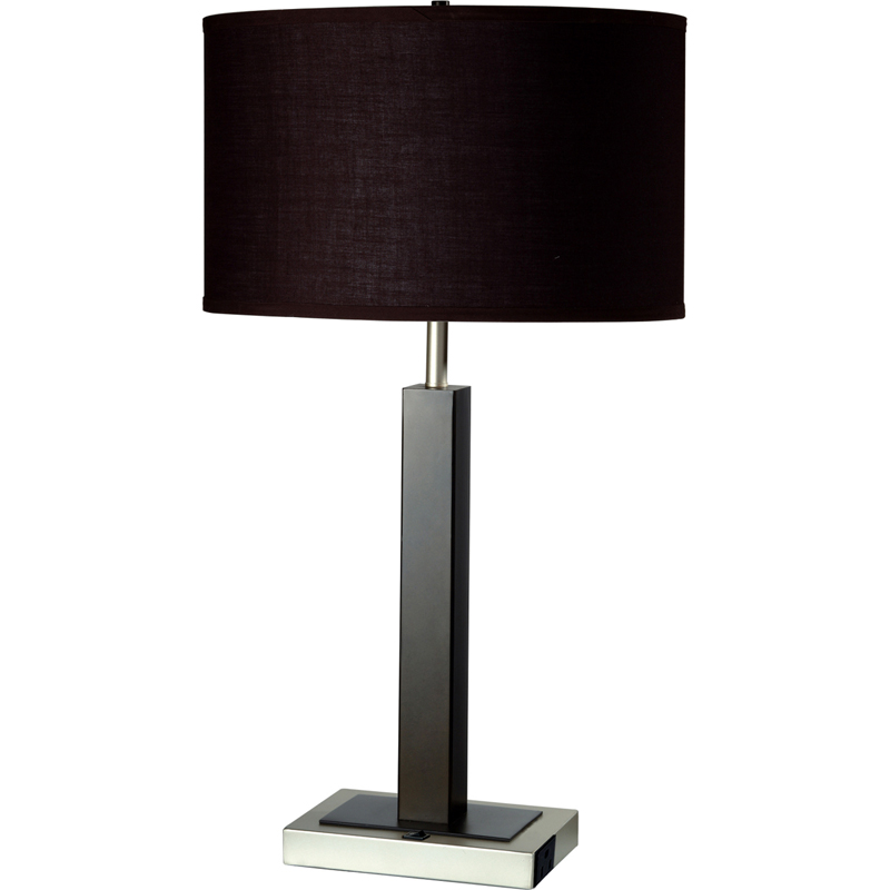 metal table lamp w convenient outlet. Black Bedroom Furniture Sets. Home Design Ideas