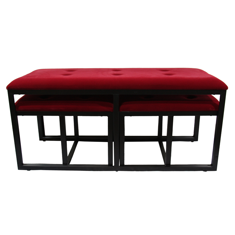 ... / Bench> / 20.5″H Red Suede Tufted Metal Bench w/ 2 Seatings