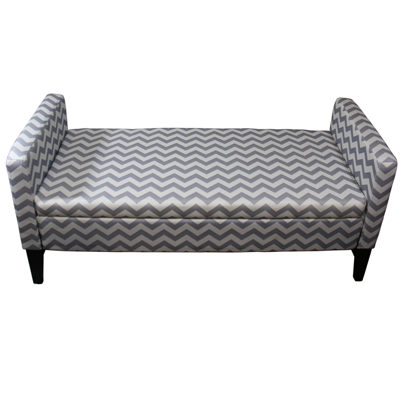 24 h gray chevron storage bench Gray storage bench