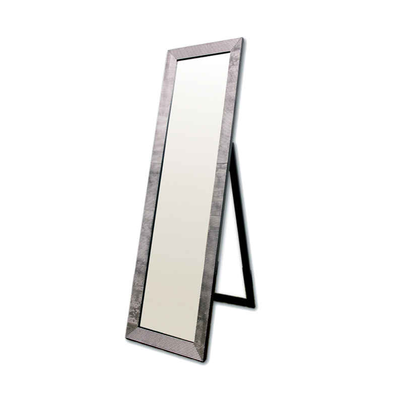 Rectangular black with pearl like studs floor mirror for Mirror please