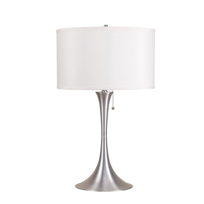 Silver Table Lamps : 27H BRUSH SILVER RETRO TABLE LAMP