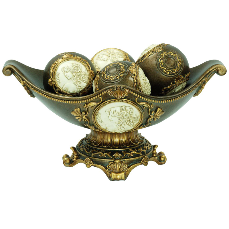 ″h handcrafted bronze decorative bowl with spheres