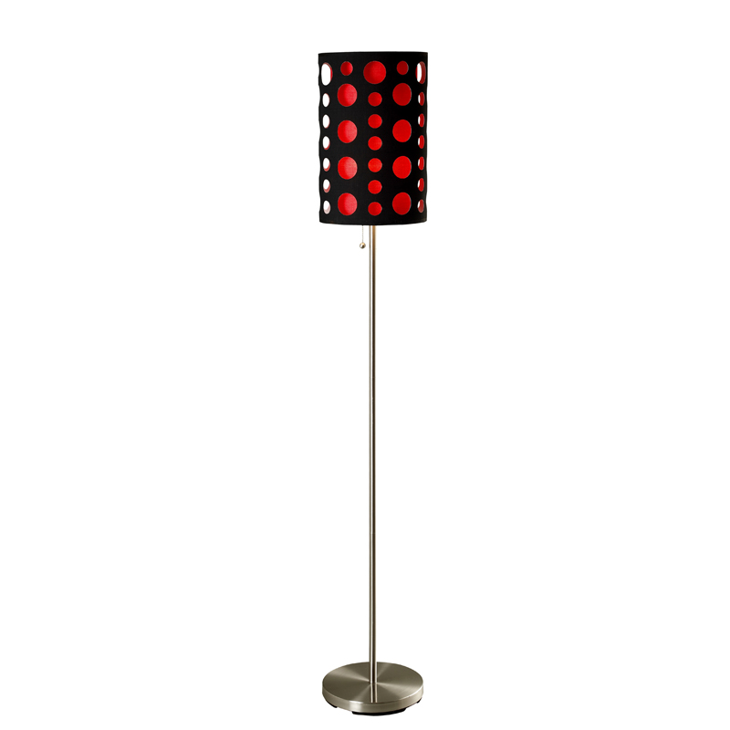 66″h modern retro black red floor lamp