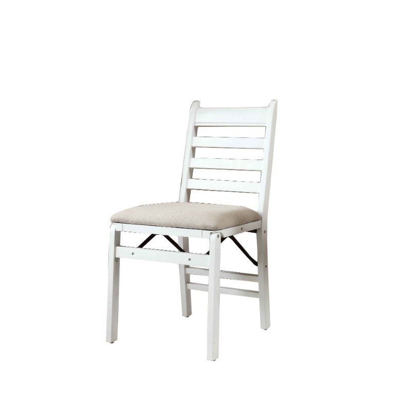 35″ WHITE WOOD FOLDING CHAIR SET OF 2