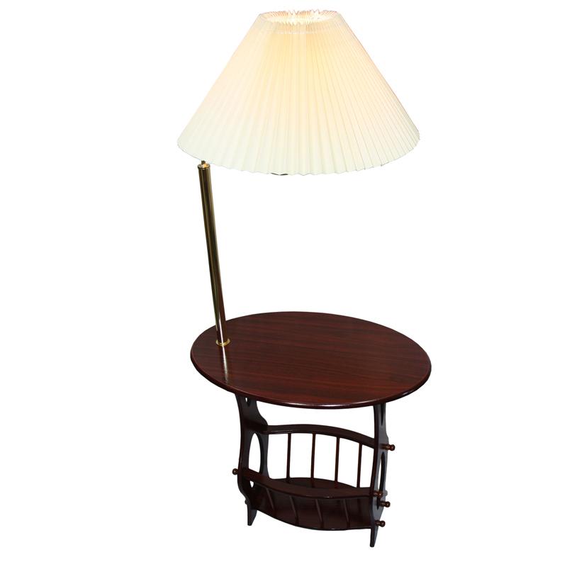 Brass floor lamp end table magazine rack combination aloadofball Gallery