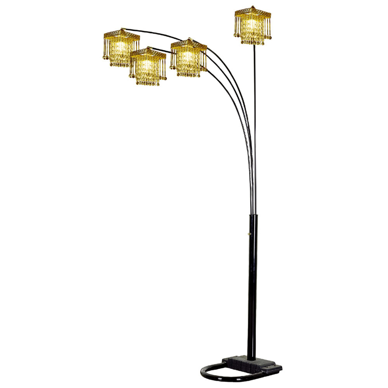 84 H 5 Arms Arch Floor Lamp Black