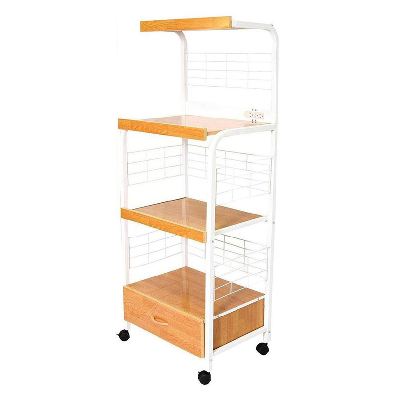 60 H White Microwave Cart W Outlet