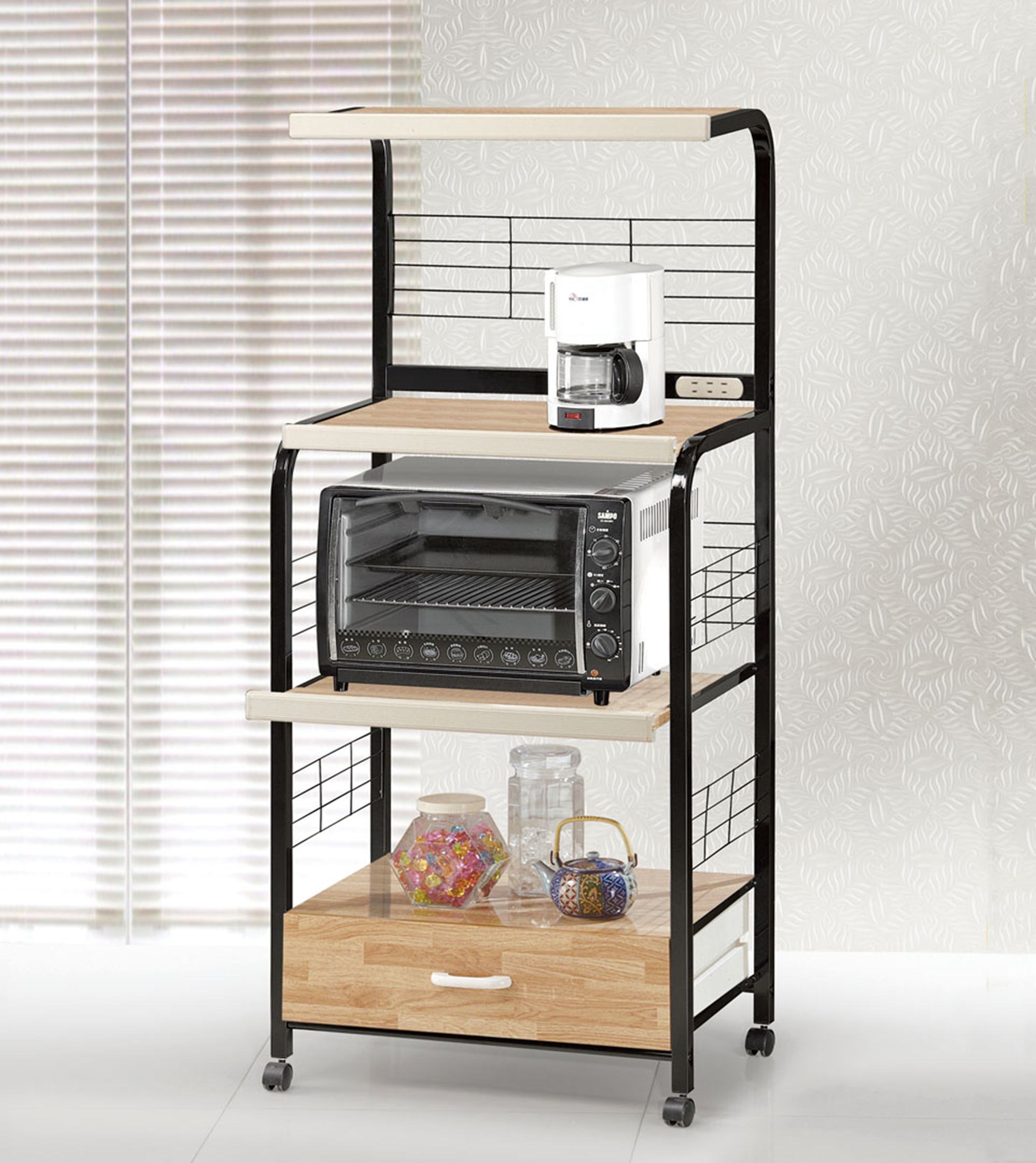 Microwave Cart W Outlet G571b 571a Bk