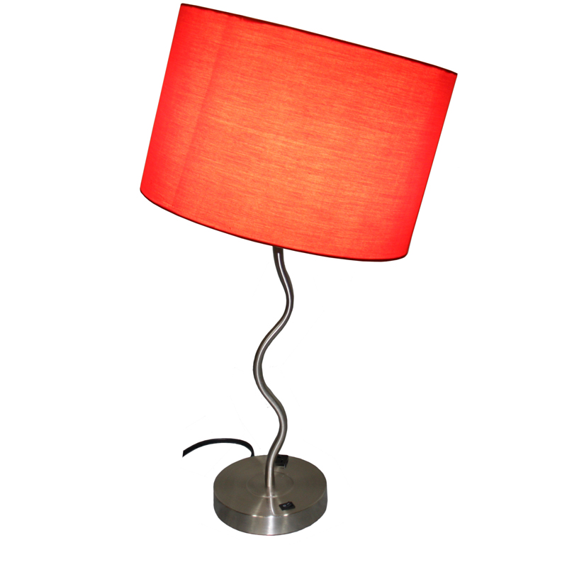 28 5 H Red Wave Table Lamp W Convenient Outlet Adjustable Bulb Socket