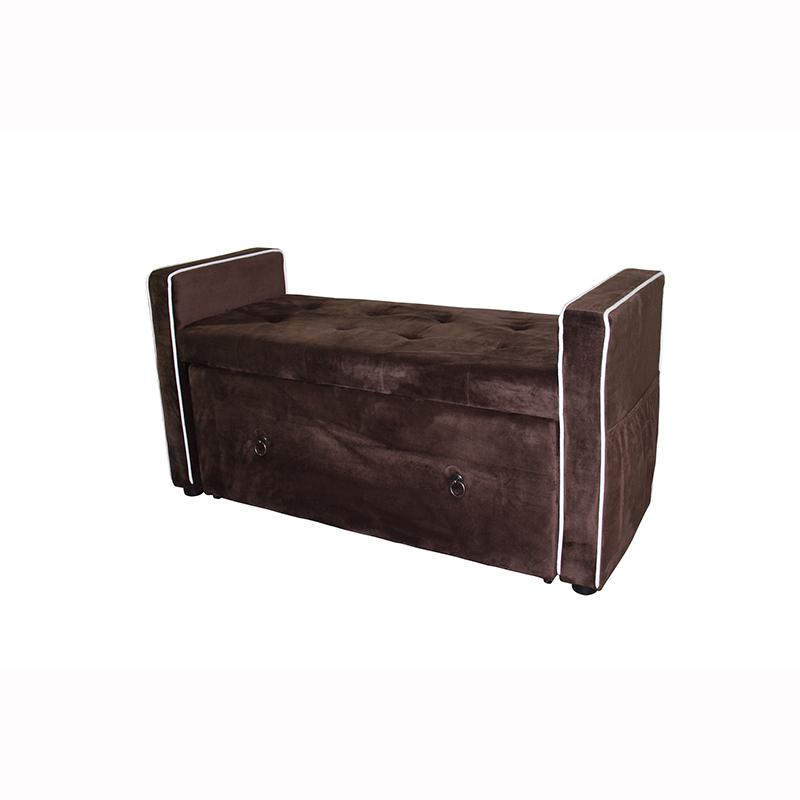 22 Brown Suede Shoe Storage Bench