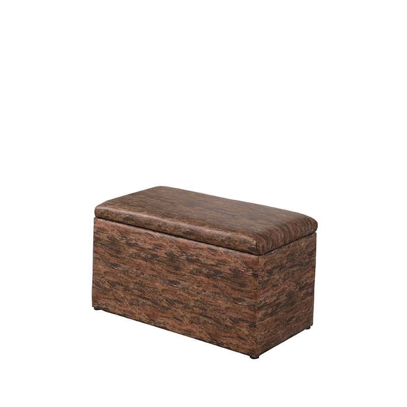 18 In Brown Multicolor Leatherette Marble Pattern Storage Ottoman Hidden Tray 1 Seat