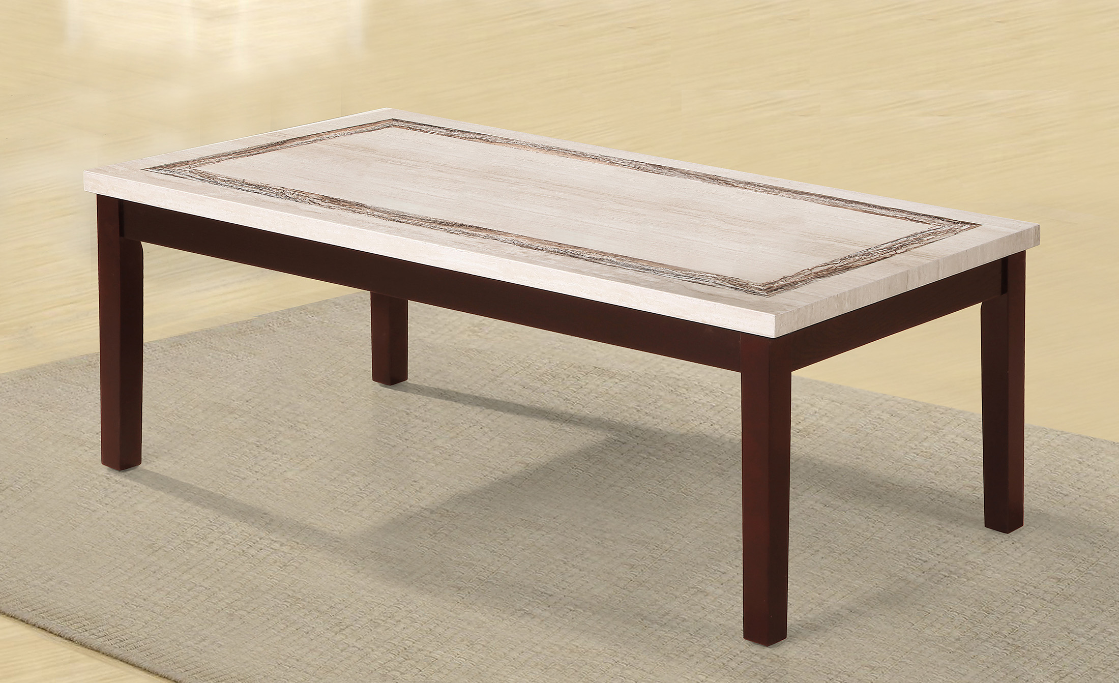 Faux Marbelized Granite Top Coffee Table