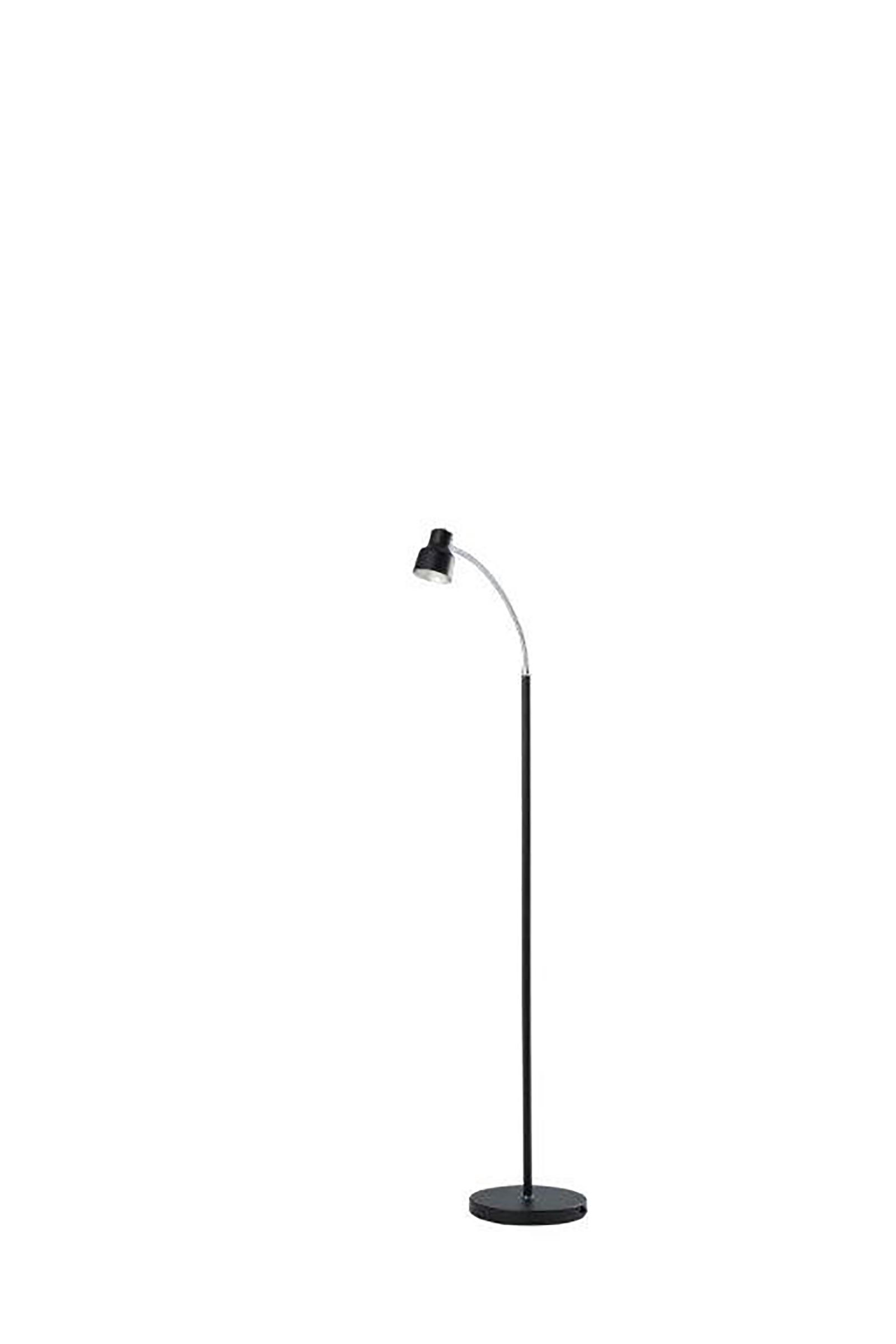 48 In Landri Led Gooseneck Satin Black Mini Reading Floor Lamp
