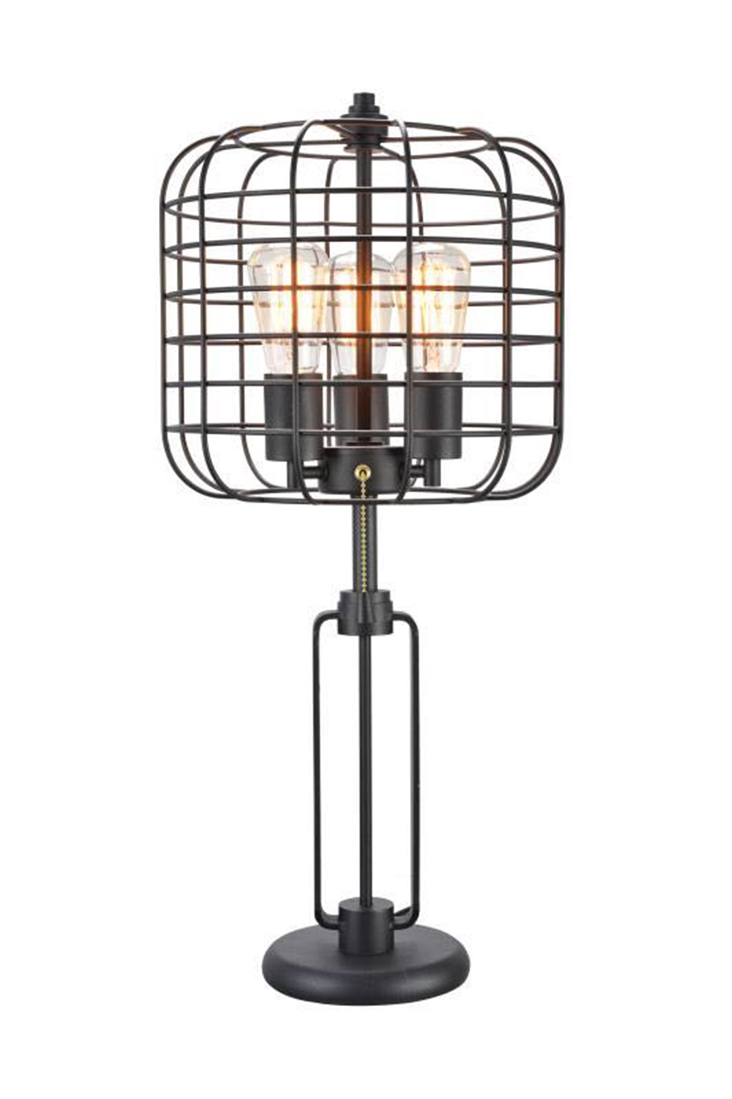 26 5 In Powder Coated Industrial Cage 3 Light Edison Table Lamp