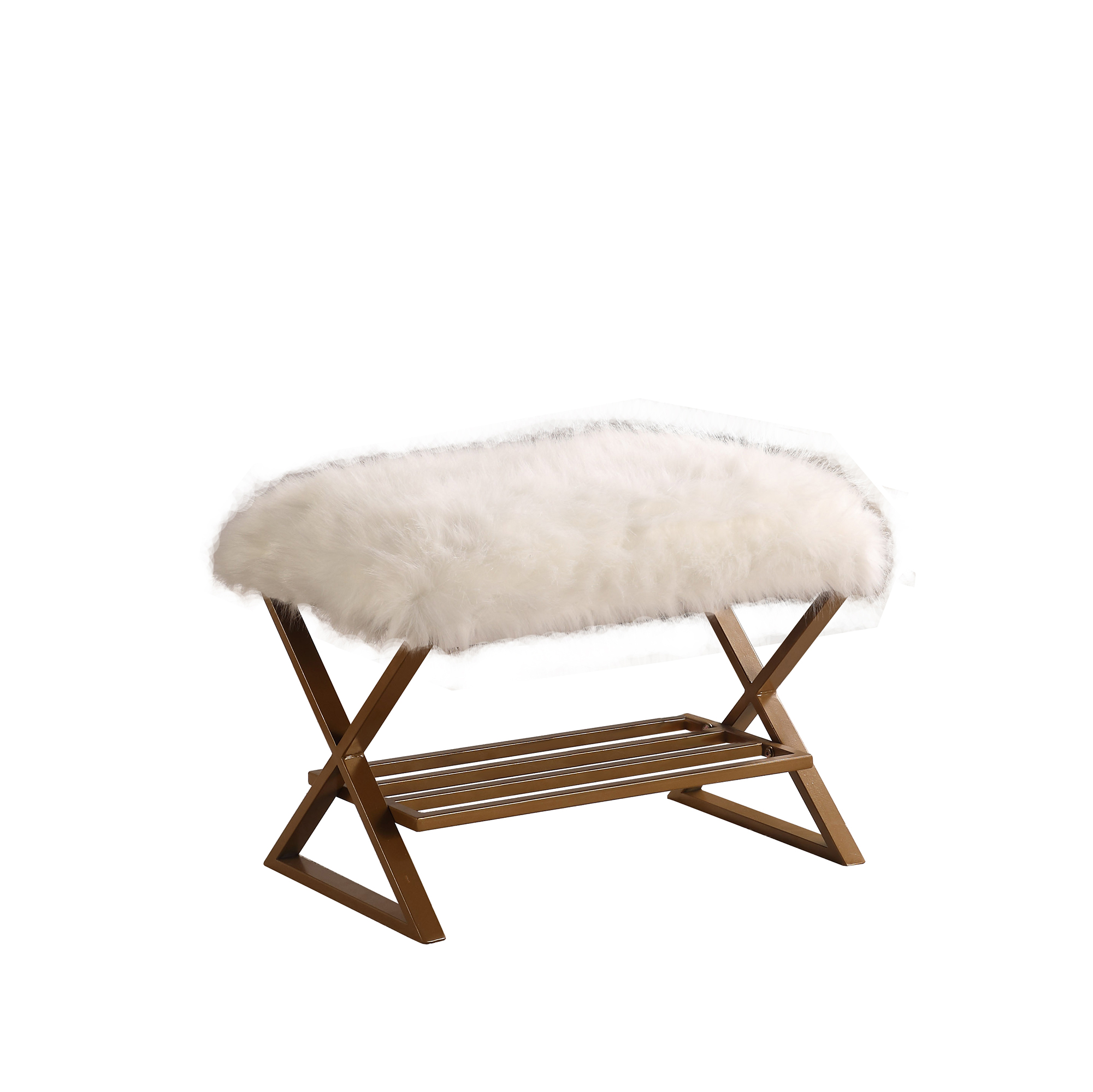 Image of: 17 In Kelli White Faux Fur Matte Gold Vanity Seating
