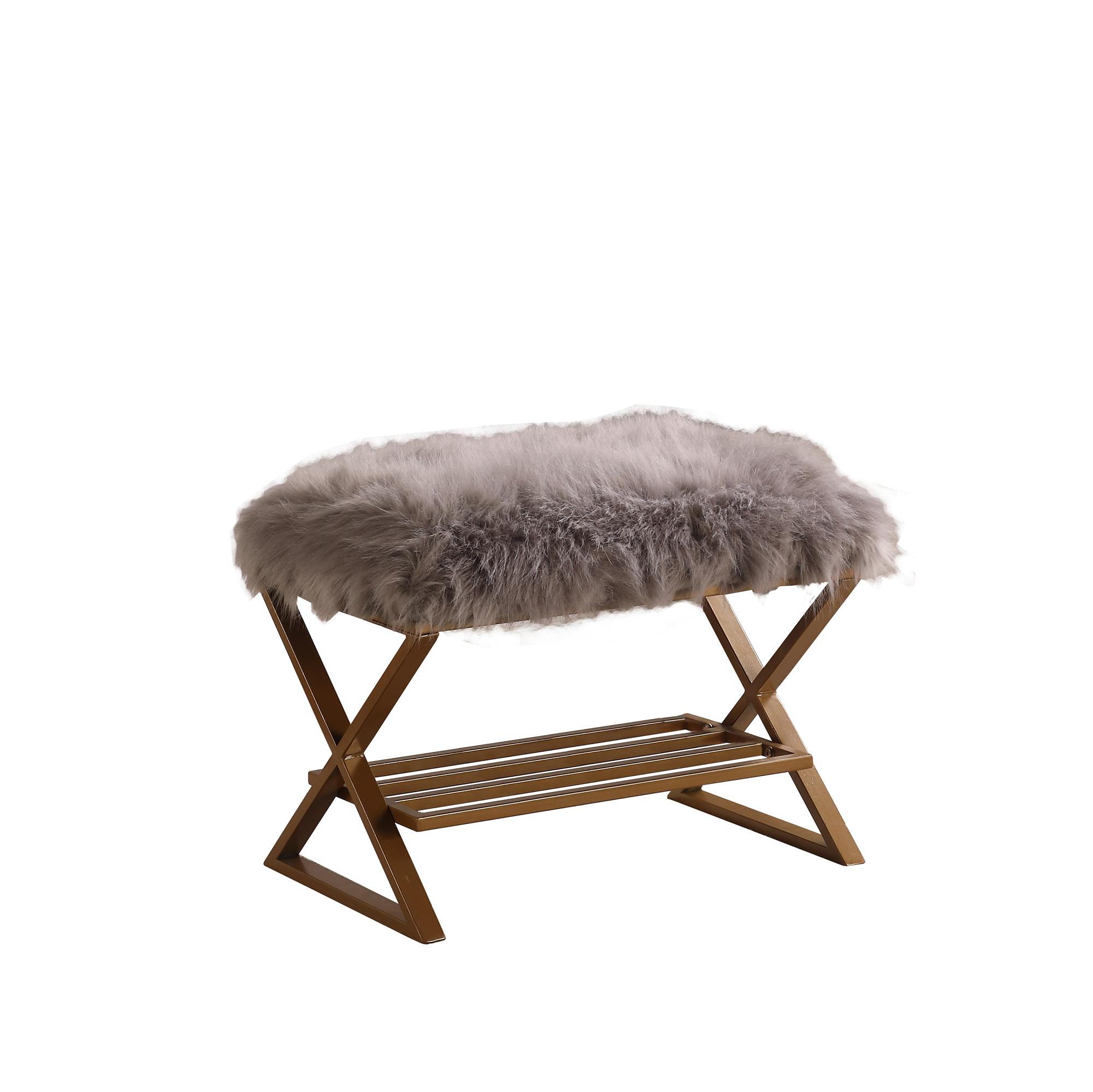17 In Billie Gray Faux Fur Matte Gold Vanity Seating